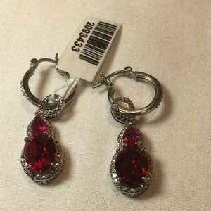 Jewelry - NWT red and silver tone two way earrings.